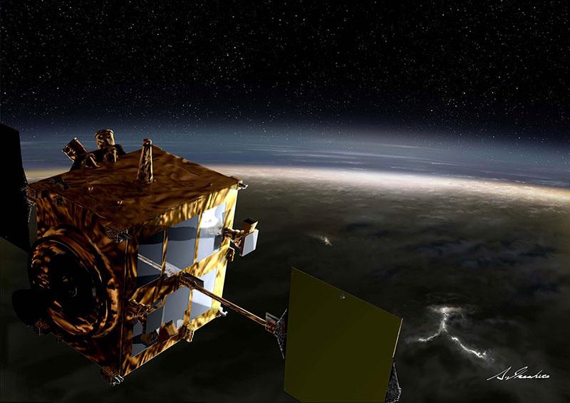 Impresión artística de Akatsuki en órbita alrededor de Venus