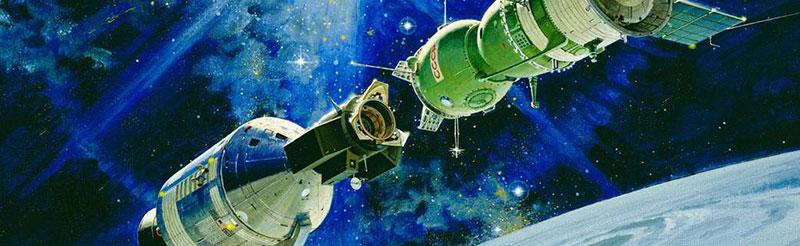 Impresión artística de ambes naves acopladas en órbita