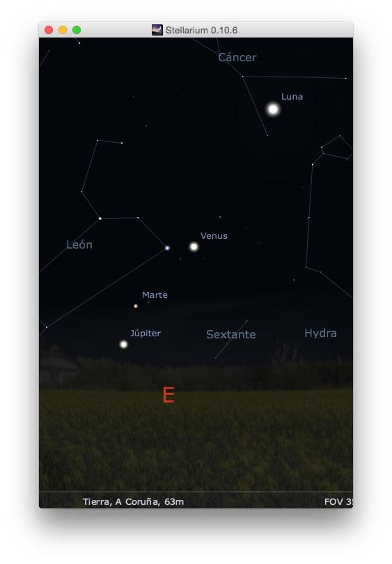 Amanecer del 7 de octubre de 2015 – Imagen generada con Stellarium