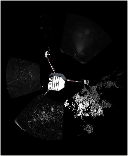 Panorámica de CIVA con imagen superpuesta de Philae