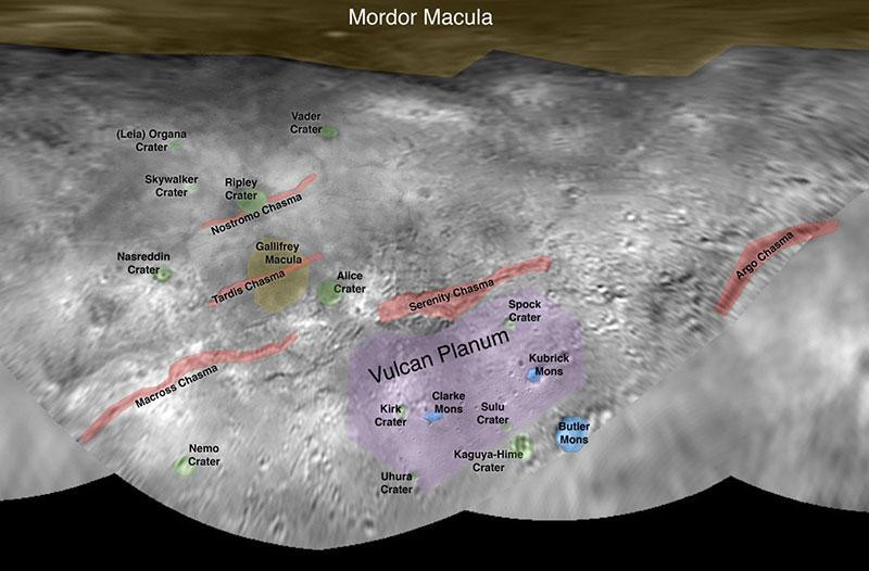 Mapa de Caronte con nombres