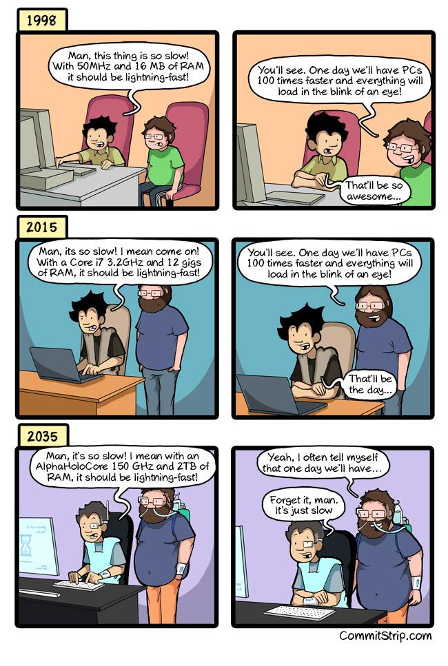 La Ley de Moore vista de forma realista by CommitStrip