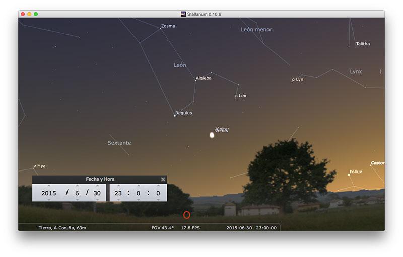 La conjunción en Stellarium