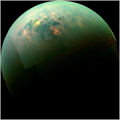 Reflejos del Sol en Titán