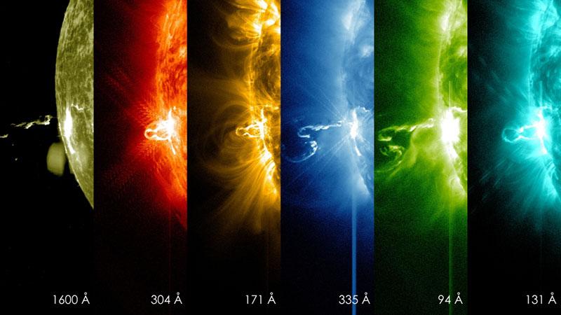 Una erupción solar vista por los distintos filtros del SDO