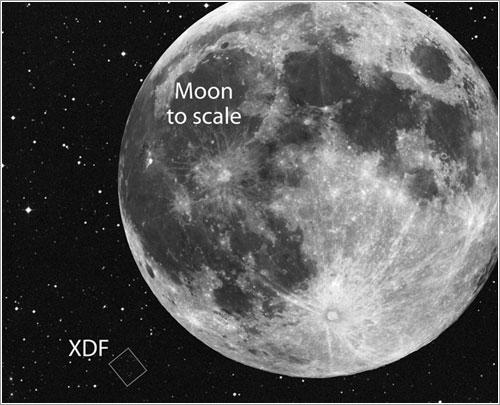 Comparación de tamaños del XDF y la Luna - NASA/ESA