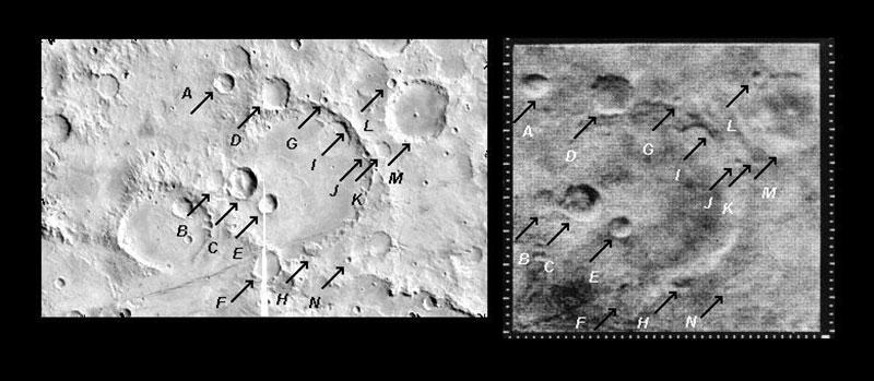 Imagen número 11 de la Mariner 4 comparada con la del orbitador Viking