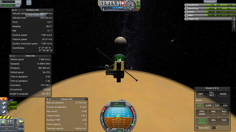 La Cassini sobrevolando Titán en KSP