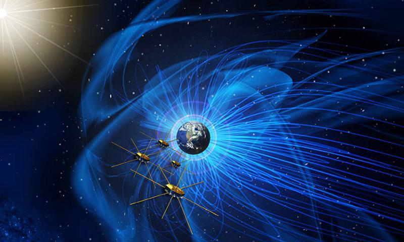 Impresión artística de los satélites MMS en órbita