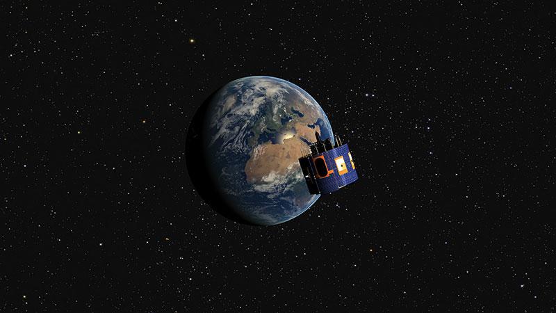 Impresión artística del MSG-4 en órbita