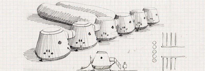 Boceto de las instalaciones en Marte