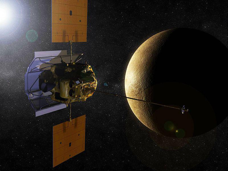 Impresión artística de la Messenger en órbita alrededor de Mercurio
