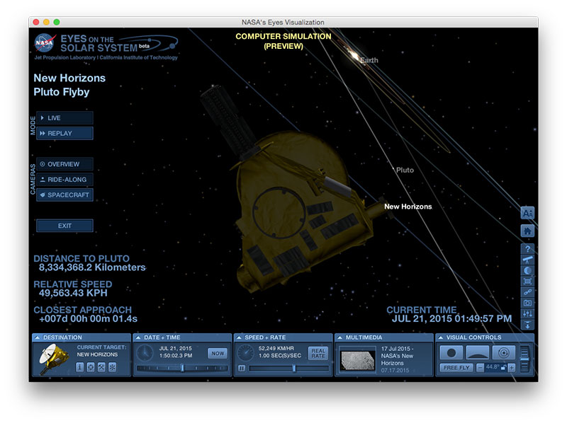 La New Horizons en Eyes on the solar system