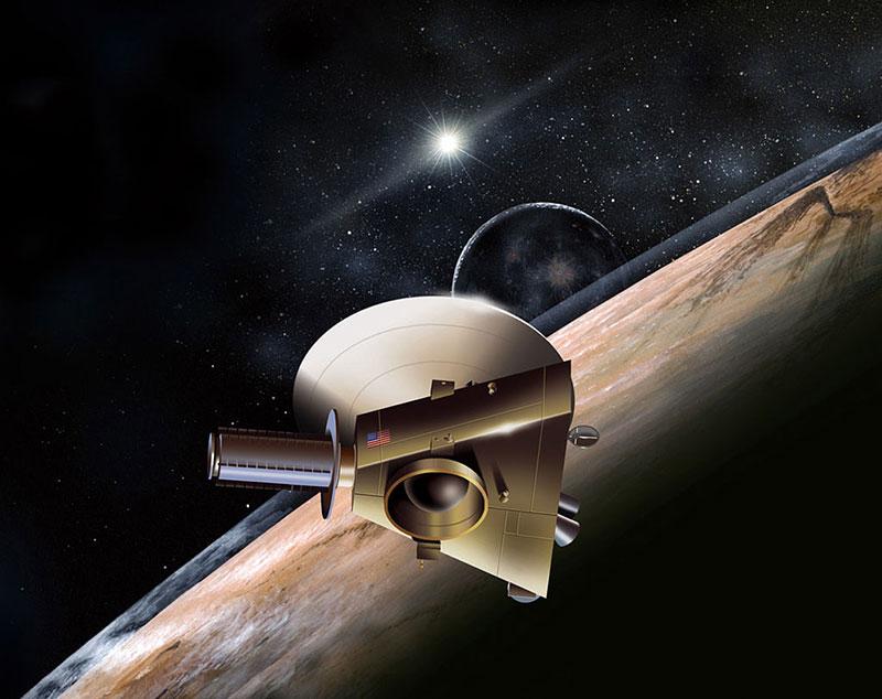 Impresión artística de la New Horizons pasando al lado de Plutón