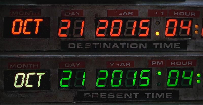 21 de octubre de 2015 programado en la máquina del tiempo