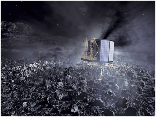 Philae en la superficie de 67P