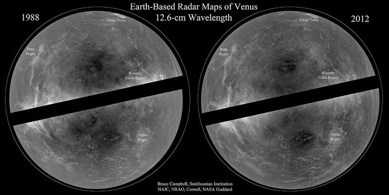 Venus en radar en 1988 y 2012