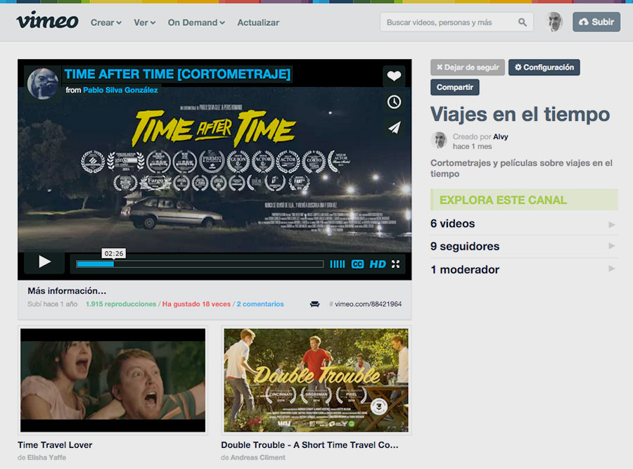 Cortometrajes sobre viajes en el tiempo (Vimeo)