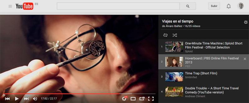 Cortometrajes sobre viajes en el tiempo (YouTube)