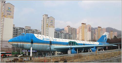Un Jumbo 747 recovertido en restaurante, en Corea del Sur