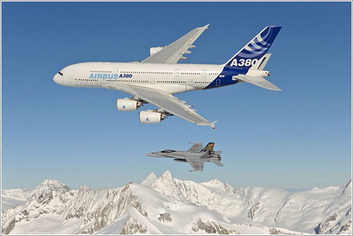 A380 y F/A-18C sobre Suiza