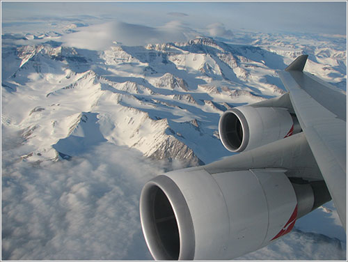 Montañas nevadas desde un A380