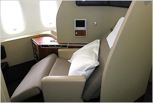 Asiento de primera clase en Qantas