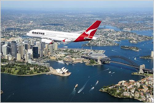 A380 de Qantas sobre Sydney