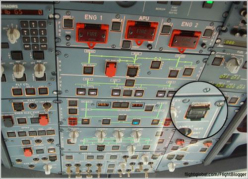 Botón para amerizajes de Airbus - flightglobal.com/Flighblogger
