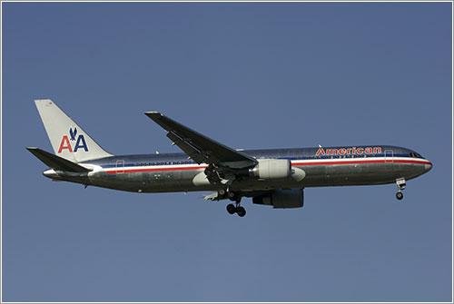 Un B767 de AA aterrizando en Madrid