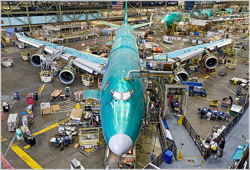 B 747-8 en la cadena de montaje - Foto Boeing