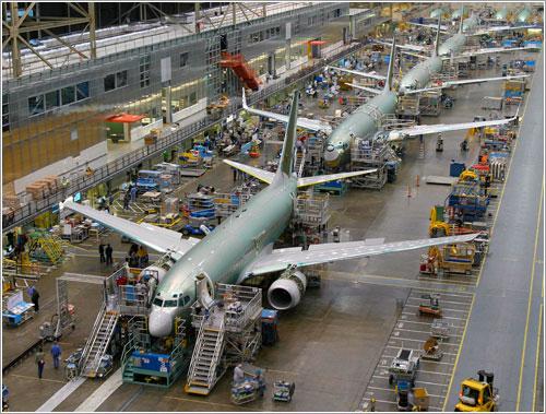Cadena de producción del B-737 en la factoría de Boeing en Seattle (Washington)