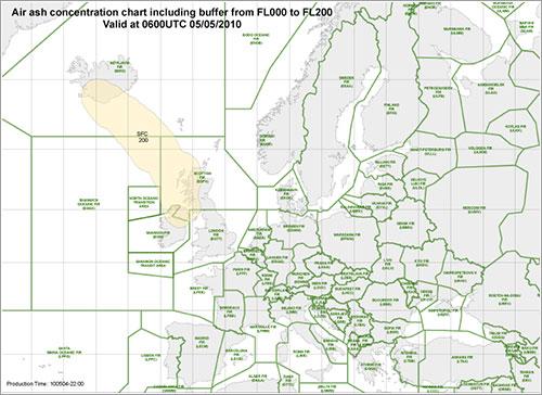 Mapa de concentración de cenizas 06:00 UTC 5/5/2010