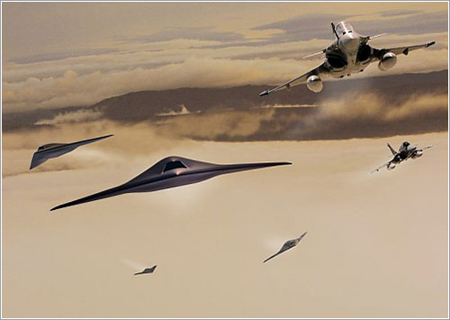 Dassault Rafales y Neuron en vuelo