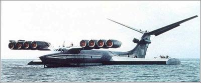 Los Ekranoplanos son técnicamente barcos que flotan gracias al efecto suelo como los hovercraft