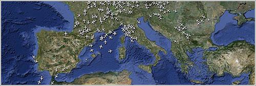 Tráfico aéreo sobre Europa a las 20:50 - Radarvirtuel