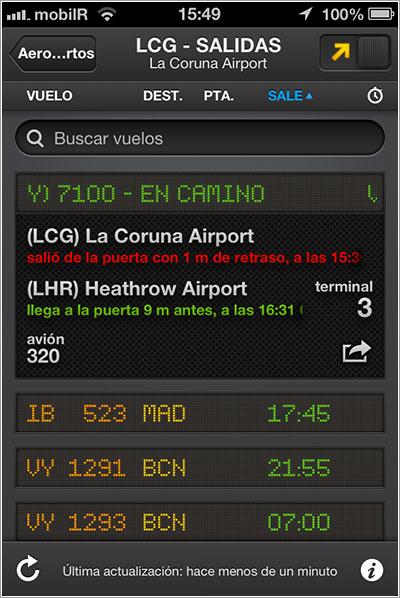 Salidas de La Coruña en FlightBoard