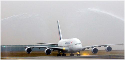 Llegada del primer A380 de Air France a CDG