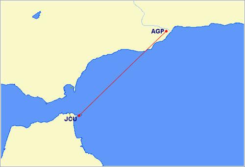 Málaga-Ceuta en Great Circle Mapper