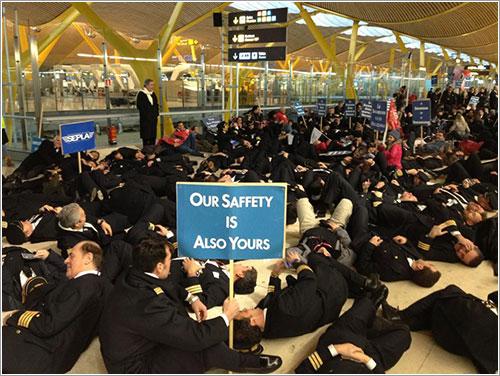 Manifestación de tripulantes por la seguridad