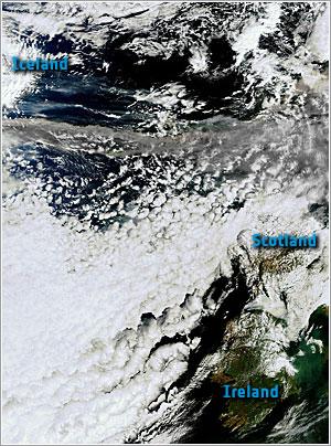 Nube de ceniza desde el espacio - ESA