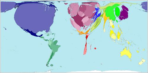 Países del mundo que más vuelan - Worldmapper