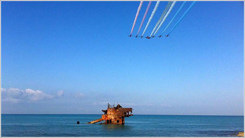 Los Red Arrows entrenando en Akrotiri