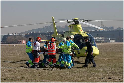 Evacuación del herido más grave