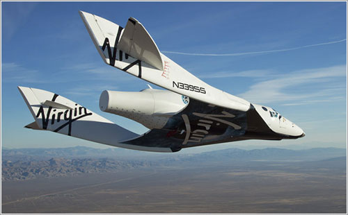 El VSS Enterprise, la nave accidentada, en su primer vuelo libre en octubre de 2010 - Mark Greenberg / Virgin Galactic