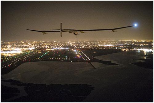El HB-SIA a punto de aterrizar en Nueva York