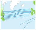 Un vuelo sobre el Atlántico Norte puede ser tanto sobre una ruta preestablecida como sobre una ruta definida por la compañía