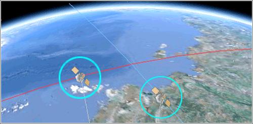 Simulación choque de satélites