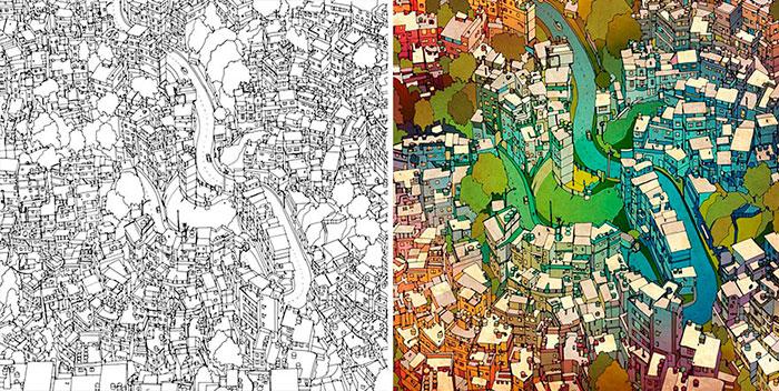 Un Libro De Colorear Para Adultos Microsiervos Arte Y Diseño
