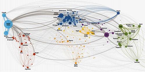 Mapa de llamadas de teléfono mundiales / DHL